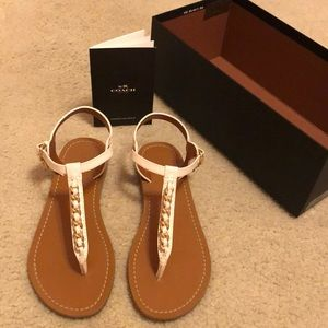 Coach Chain Tstrap Sandals (Chalk)